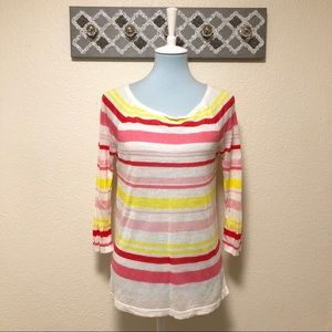 LOFT Striped Sweater Gauzy Lightweight, Size M